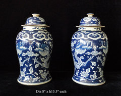 Pair Chinese Blue & White Porcelain Temple General Jars traditional vases
