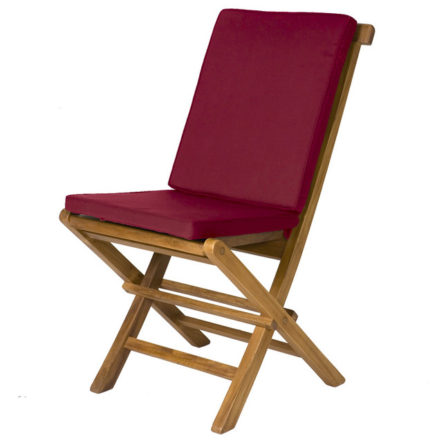 2 Folding Chair Cushions Maroon Traditional Outdoor Folding Chairs by
