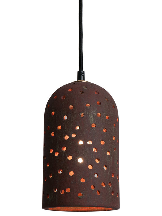 Rust Red Brute Pendant - Brute Pendants are inescapable and warm. The randomly punched holes and unique surface texture will delight you. Our new lava, rust and metallic glazes are earthy and complex. The rich glow of the nostalgic bulb creates a perfect mood. Pair them together or hang them in a group.