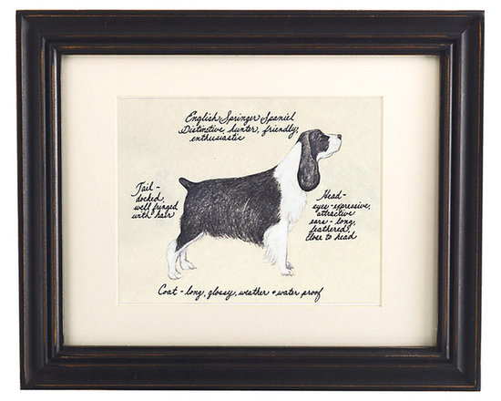 Ballard Designs - English Springer Spaniel Black/White Dog Print - Hand colored & signed. Printed on parchment. Eggshell mat. Antique black frame. Our English Springer Spaniel Black/White Dog Print was created by the dog-loving, husband and wife team of Vivienne and Sponge. The English Springer Spaniel is known for being friendly, enthusiastic and a distinctive hunter. Each English Springer Spaniel portrait is hand colored and embellished with notes on the breed's special characteristics. Printed on antiqued parchment, signed by the artists and framed in antique black wood with eggshell mat and glass front. English Springer Spaniel Black/White Dog Print features: . . . . *Please note that personalized items are non-returnable.