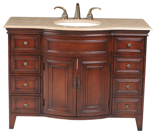48 yorktown single sink vanity with travertine marble top for Marble top console sink