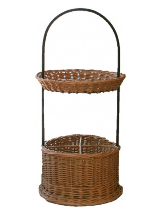 Vintage Baskets - This is a beautiful french wicker stand for four bottles of wine or lemonade and a separate upper tray to caddy a plate of cheese or glasses.