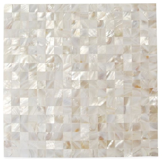 Serene White Square Pearls Glass Pattern Tile contemporary-tile