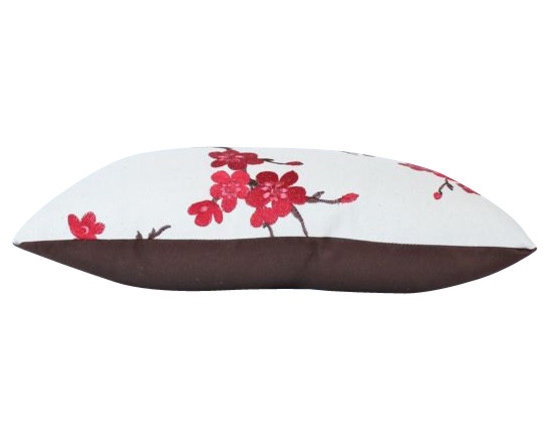 The Pillow Studio - Decorative Pillow with Embroidered Red and Pink Cherry Blossoms - I LOVE this pillow! It is both dramatic and delicate.