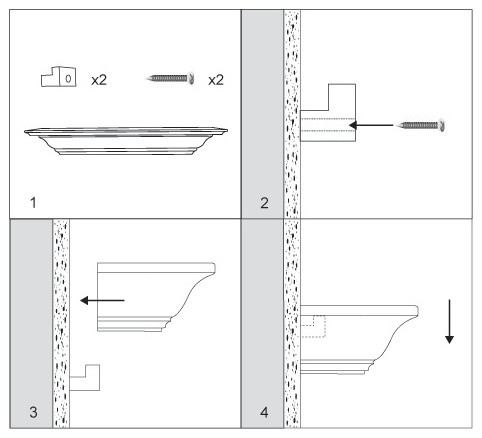 How to install crown molding shelf traditional los for Kitchen cabinets crown molding installation instructions