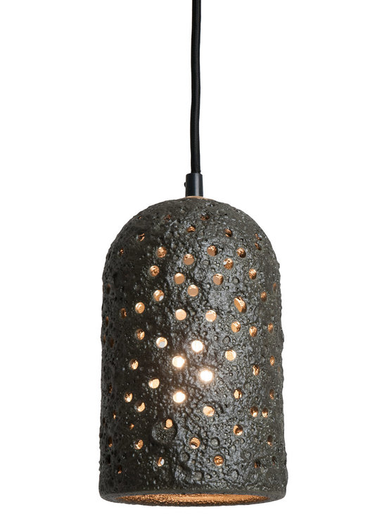 Kelp Green Lava Brute Pendant - Brute Pendants are inescapable and warm. The randomly punched holes and unique surface texture will delight you. Our new lava, rust and metallic glazes are earthy and complex. The rich glow of the nostalgic bulb creates a perfect mood. Pair them together or hang them in a group.