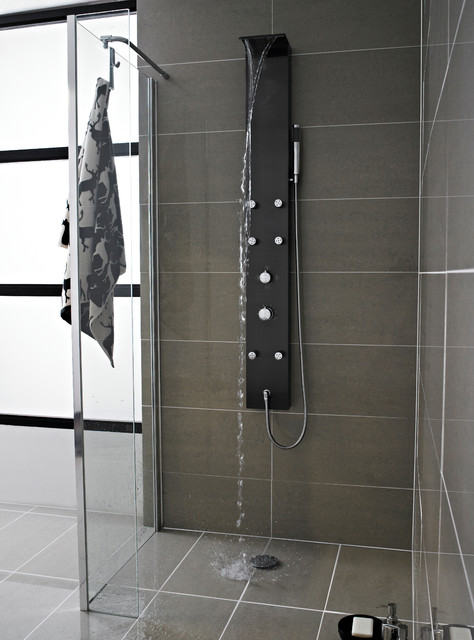 Mix Waterfall Shower Panel With 6 Body Jets Modern