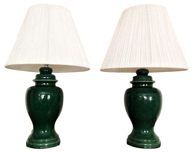 Used Vintage Green Ginger Jar Lamps A Pair Contemporary