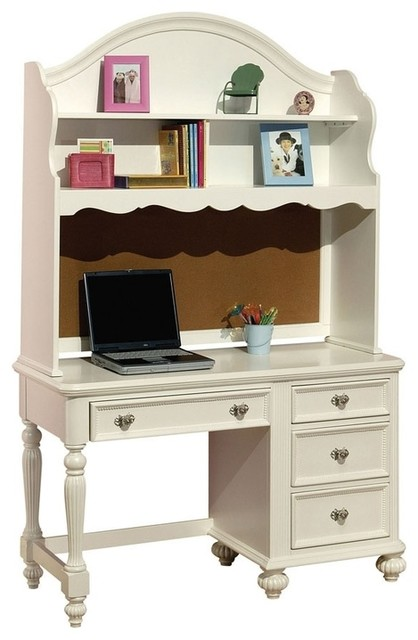 White Kid Computer Desk And Hutch Traditional Kids