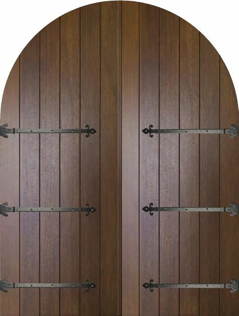 Prehung Exterior Double Door 96 Mahogany Rustic Plank Round Top Solid Rusti