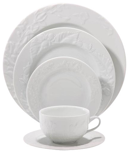 Philippe Deshoulieres Promenade White 5-Piece Place Setting contemporary-dinnerware-sets