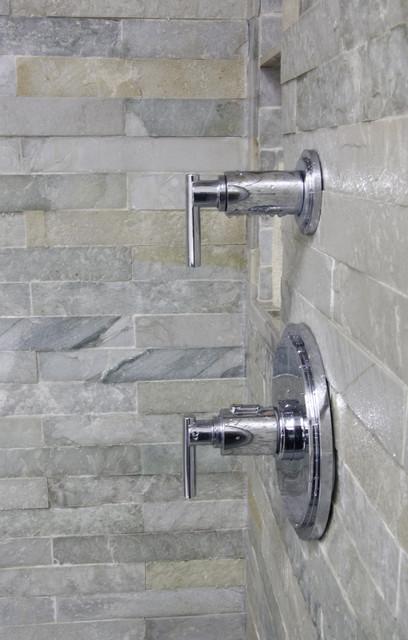 Island Stone Himachal White Strip Tile Bath modern-tile