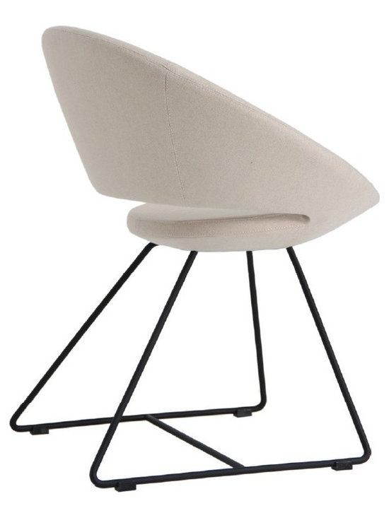 """Crescent Wire Chair by sohoConcept - Crescent Wire is a unique dining chair with a comfortable upholstered seat and backrest on solid chromed steel wire base. Each leg is tipped with a plastic glide embedded into the metal wire. The seat has a steel structure with """"S"""" shape springs for extra flexibility and strength. This steel frame molded by injecting polyurethane foam. Crescent seat is upholstered with a removable zipper enclosed leather, PPM or wool fabric slip cover. The chair is suitable for both residential and commercial use."""