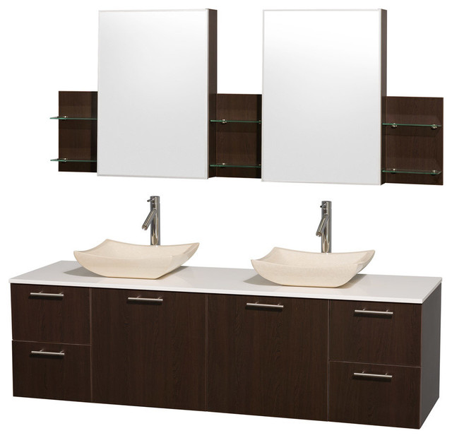 Amare Espresso with White Man-Made Stone Top with Ivory Marble Sinks modern-bathroom-vanities-and-sink-consoles
