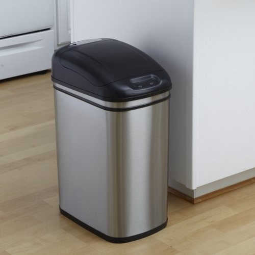 Stainless Steel Kitchen Garbage Can: Nine Stars DZT-30-1 Touchless Stainless Steel 7.9 Gallon