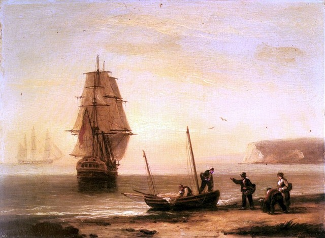Thomas Luny Fishermen unloading the catch with a merchant ship Print traditional-artwork