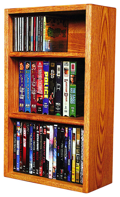 Solid Oak desktop or shelf for CD's and DVD's/ VHS Tapes modern-media-racks-and-towers