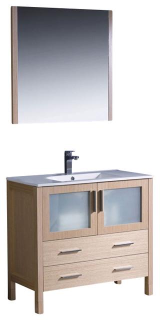 "Fresca Torino 36"" Modern Bathroom Vanity w/ Integrated Sink - Light Oak modern-bathroom-vanities-and-sink-consoles"