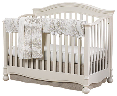 Tristan Gray And Taupe With Linens Bumperless Crib 4 Piece