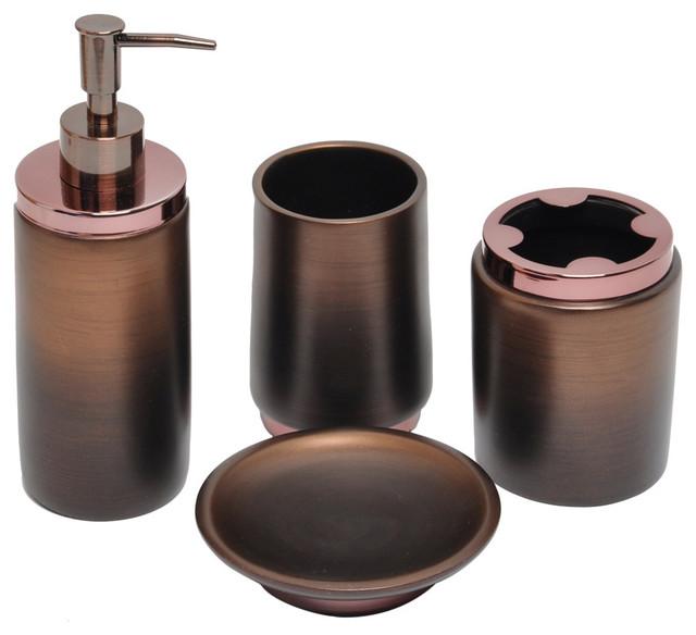 Oil Rubbed Bronze Bath Accessory 4 Piece Set Contemporary Bathroom Accessories By