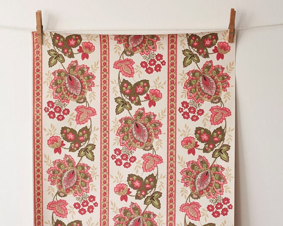 Vintage Wallpaper Roll, Bohemian Pink Paisley by Smile Mercantile traditional-wallpaper