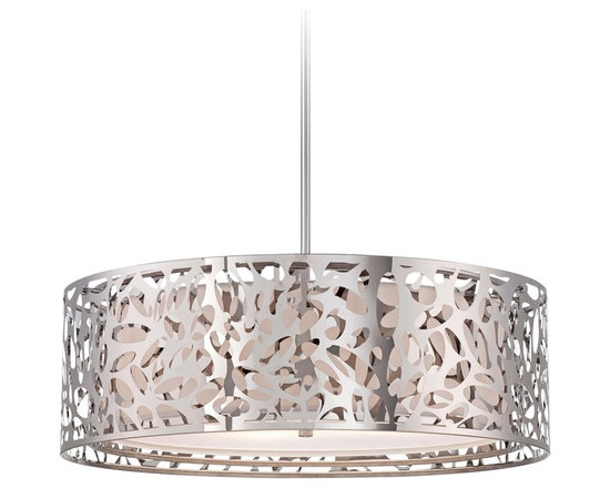 "George Kovacs - George Kovacs Hilary 23 1/2"" Wide Pendant Chandelier - This chrome pendant chandelier is a great addition for homes with modern decor inspiration. Perfect for entryways dining rooms and bedrooms this graceful fixture has an intricate openwork swirl design with a white interior shade for dimensional shine. A sleek chrome finish and frosted white glass diffuser complete this stunning look. From George Kovacs. Chrome finish pendant light. Frosted white glass diffuser. Openwork frame. White fabric shade interior. Takes four maximum 100 watt or equivalent bulbs(not included). Adjustable hang height of 16"" to 52"". 23 1/2"" wide. 8"" high.  Chrome finish pendant light.  Frosted white glass diffuser.  Openwork frame.  From the George Kovacs pendant chandelier collection.  White fabric shade interior.  Takes four maximum 100 watt or equivalent bulbs(not included).  Adjustable hang height of 16"" to 52"".  23 1/2"" wide.  8"" high."