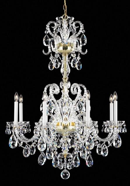 "Crystal Schonbek Gold Novielle 31"" Wide Spectra Crystal Chandelier traditional-chandeliers"