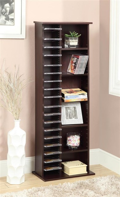 Wooden Storage Shelf w Adjustable Levels - Contemporary - Media Racks And Towers - by ShopLadder