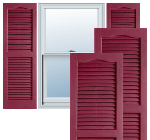 """14"""" x 25"""" Builders Choice Vinyl Open Louver Shutters,w/Screws, Berry Red traditional-window-treatments"""