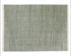 Fringed Hand-Loomed Rug, Blue Smoke traditional-rugs