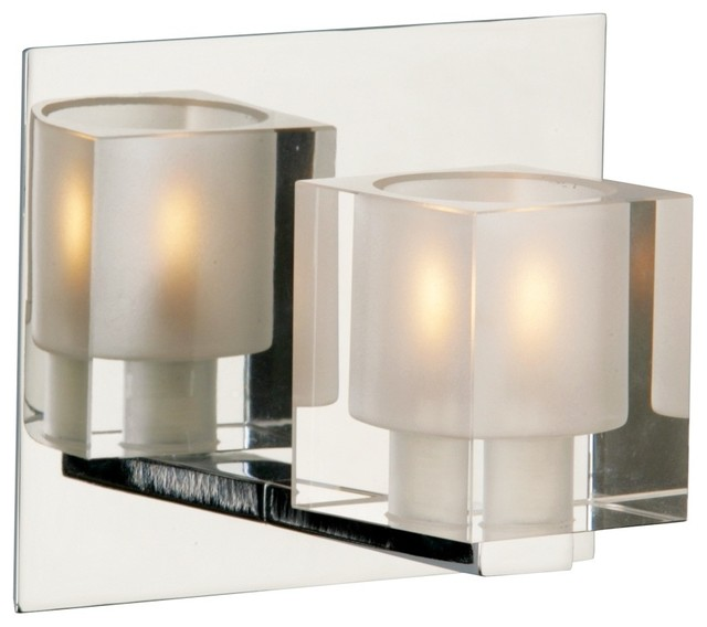 Blocs Collection Glass Chrome One Light Wall Sconce - Contemporary - Bathroom Vanity Lighting ...