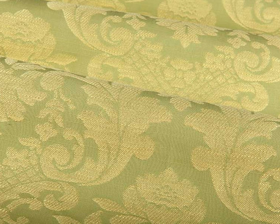 Gascogne Floral Fabric in Leaf Green - Gascogne in Leaf is a calming green floral fabric with golden accents woven throughout. Feminine and detailed, this classic fabric adds quite a statement. May be used for upholstery, bedding and pillows, or drapery. Made from a blend of 50% rayon and 50% cotton. This fabric passes CA 117 fire rating and 30,000 double rubs on the Wyzenbeek abrasion test. Width: 54″; Repeat: 18.5″ Vertical 13.5″ Horizontal