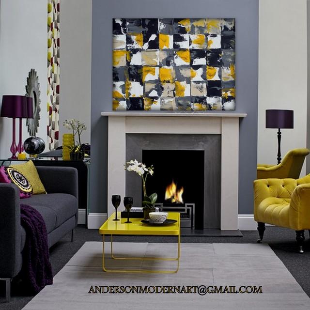 Large Wall Art Art Print Of Yellow Gray And Black