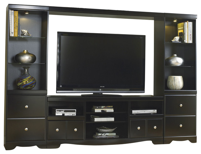Entertainment Unit With Tv Stand With Fireplace Option Bridge Two Side Piers Contemporary
