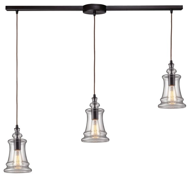 Landmark Lighting Menlow Park 60042-3L Pendant - 36W in. - Oiled Bronze modern-pendant-lighting