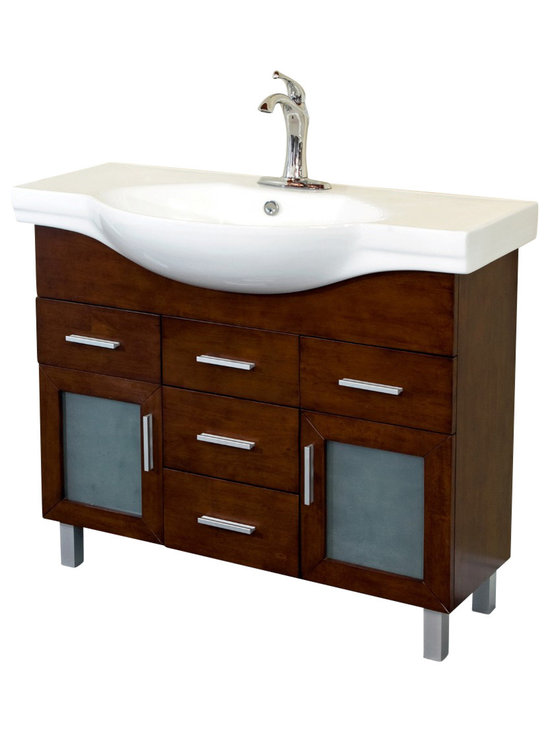 Bellaterra Home - 39.8 Inch Single Sink Vanity-Wood-Walnut-4 Drawers - Add a unique contemporary flare to your home's decor with this modern style design sink chest vanity. The medium walnut finish is refreshing and will surely add to your home's ambiance. Three door panels with soft close hinges, two functional drawers with ball bearing drawer glides provide all storage necessity for any bathroom without compromising. Dimension: 39.8 W x 18.5 D x 34.8 H