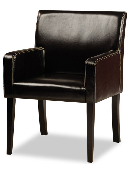 Bryght - Jovita Faux Leather Upholstered Armchair - This classic Parson's dining chair, with its bold and modern lines is sure to make a beautiful statement in your dining room. The Jovita dining chair's well supported armrests and generously scaled seating is designed for longer sittings.