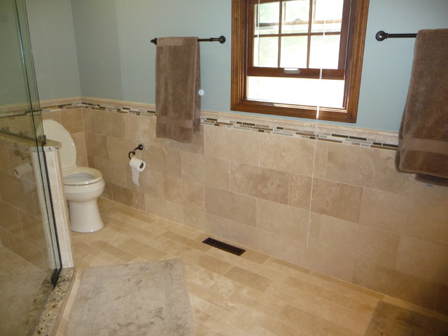 Travertine Tile Modern Bathroom Cleveland By