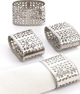 Excell Napkin Rings, Set of 4 Lace Oval traditional napkin rings