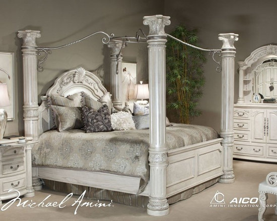 AICO Furniture - Monte Carlo II 7 Piece Queen Poster Bedroom Set in Silver Pearl - Set includes Queen Bed, Dresser, Mirror and Nightstand