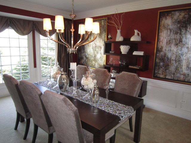 Transitional Red Dining Room