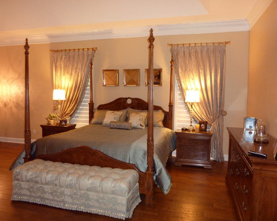 Elegant Bedroom - Simple, rich and elegant.  Design by Calico Corners.  Installation by Curtain Pros