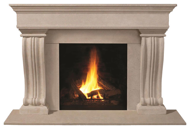 1110.536 cast stone mantel, Taupe Open Cast transitional-fireplace-mantels
