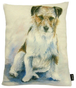 Painted Jack Russel Pillow modern-decorative-pillows