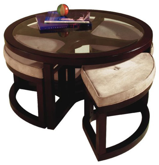 Magnussen Juniper Tables Round Glass Top Cocktail Table With Seating Transitional Coffee Tables
