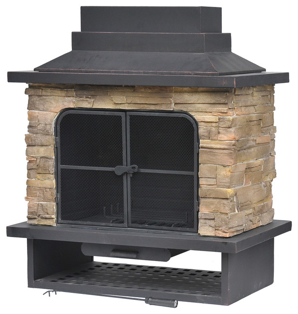 Garden Treasures Brown Steel Outdoor Wood Burning Fireplace Contemporary Outdoor Fireplaces