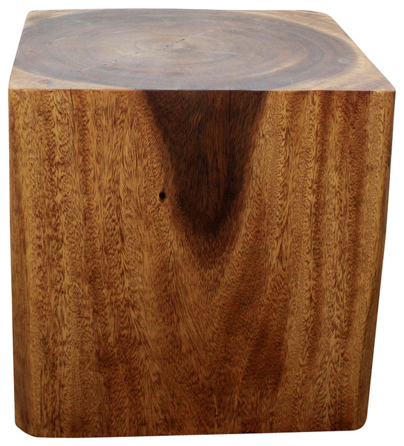 Cube End Table 18x18x18 Inch H Sust Monkey Pod Wood In E