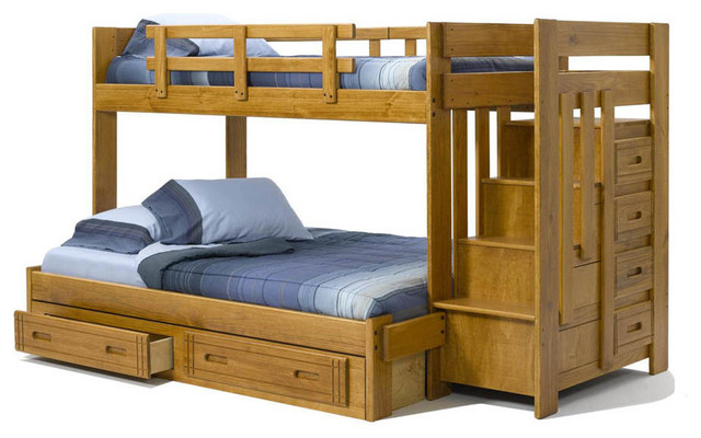 Chelsea Home Twin Over Full Bunk Bed with Stairway Chest and Under Bed Storage traditional-bunk-beds