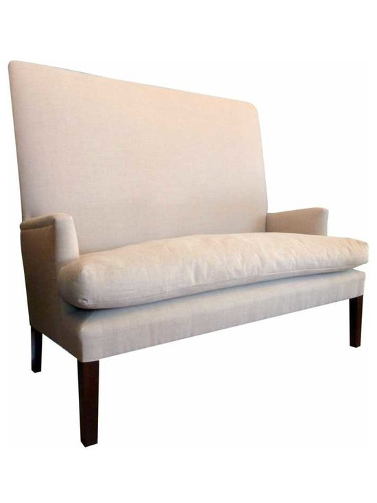 High Back Settee - New legs built into the vintage frame, down cushion, expertly upholstered in a very nice Henry Calvin linen.