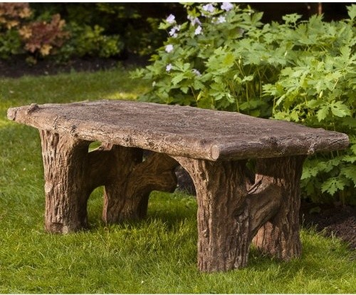 Campania international faux bois cast stone backless garden bench be 116 al contemporary Stone garden bench
